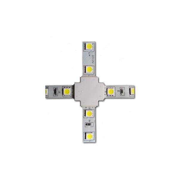 Коннектор крестовой 3528 , 8мм без провода